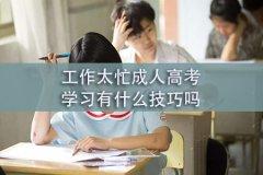 工作太忙成人高考学习有什么技巧吗