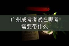广州成考考试在哪考,需要带什么
