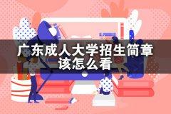 广东成人大学招生简章该怎么看