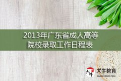 2013年广东省成人高等院校录取工作日程表