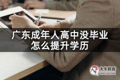 广东成年人高中没毕业怎么提升学历