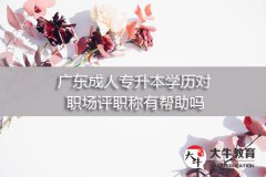 广东成人专升本学历对职场评职称有帮助吗