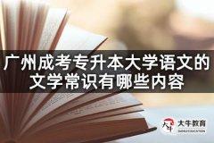 广州成考专升本大学语文的文学常识有哪些内容