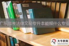 广东成考法律文秘专升本能报什么专业